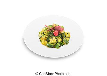 きゅうり, salad-, 隔離された, イメージ