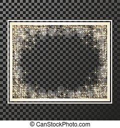 きらめき, -, ベクトル, 金 背景, シンボル, 火炎信号, 星, 照ること, フレーム, 星, 星, ...