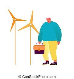 きれいにしなさい, 自然, オペレーター, 都市, エコロジー, 道具, ベクトル, 箱, ∥あるいは∥, 維持, 緑, 漫画, 風, 環境, 人, concept., イラスト, 手, 平ら, ecofriendly, タービン, エンジニア, equipment., エネルギー