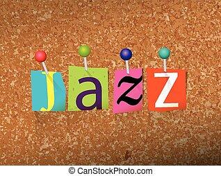 くぎ付けにされた, ジャズ, 概念, 手紙, イラスト