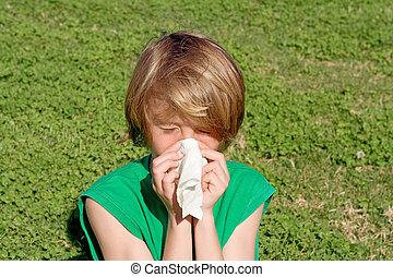 くしゃみをする, アレルギー, 花粉症, 鼻, 吹く, 子供, 屋外で