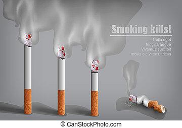 くすぶること, タバコ, ∥で∥, a, 煙