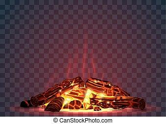 くすぶること, 火, 夜