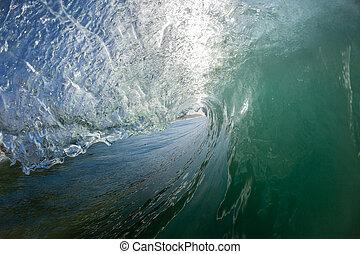 くぼみ, 中, 水, 波