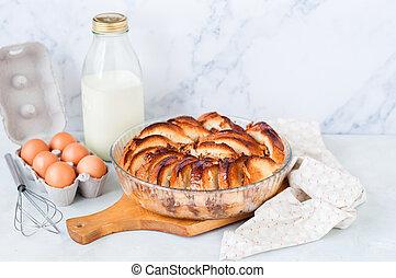 くるみ, bread, そして, バター, プディング