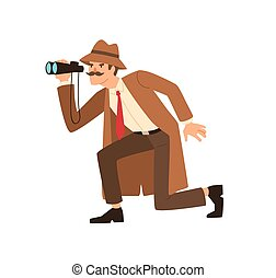 こそこそすること, の間, 見る, 帽子, エージェント, 観察, 双眼鏡, コート, 保有物, 探偵, 監視, isolated., illustration., ベクトル, スパイ, 装置, によって, マレ, 平ら, 私用, 調査