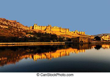 こはく色, 都市, jaipur, india., rajasthan, 城砦
