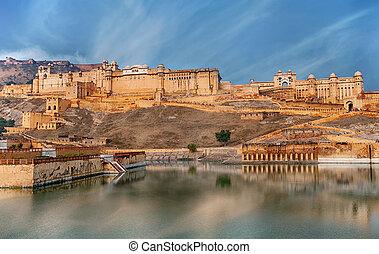 こはく色,  Jaipur, インド, 城砦, 光景