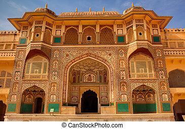 こはく色, jaipur, インド, 州, rajasthan, 城砦