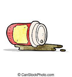 こぼされる, カップ, コーヒー, 漫画