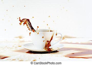 こぼれること, 作成, はね返し, カップ, コーヒー, 美しい