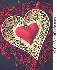 こまかく切られた, 色, ペーパー, 型, 形, 赤い心臓