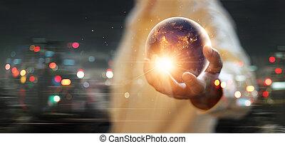 これ, 人間, 要素, 地球, イメージ, 概念, nasa, あった, 夜, エネルギー, 日, 手, セービング, 保有物, 供給される