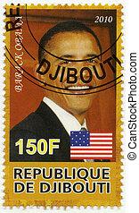 ∥ころ∥, 44nd, 合併した, obama, 切手, 州, -, barack, djibouti, 2010:, 印刷される, 大統領, 共和国, 2010, ショー