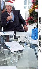 こんがり焼ける, クリスマス, 新型, ビジネスマン, シャンペン, オフィス, 帽子