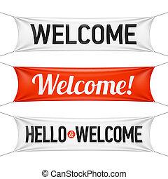 こんにちは, そして, 歓迎, 旗