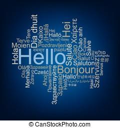 こんにちは, タグ, 雲, 中に, 別, 言語