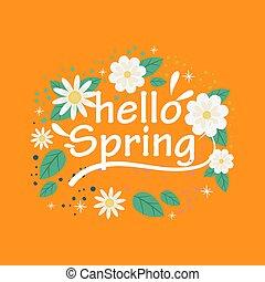 こんにちは, デザイン, 春, イラスト, 旗, ベクトル