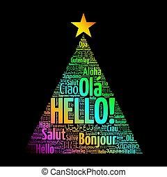 こんにちは, 単語, 雲, 中に, 別, 言語, の, 世界