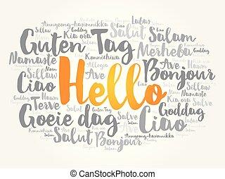 こんにちは, 単語, 雲, 中に, 別, 言語