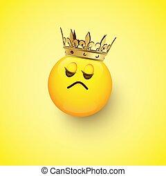 ごう慢である, 王冠, 隔離された, 黄色, バックグラウンド。, ベクトル, デザイン, element.,...