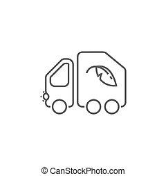 ごみ収集車, ベクトル, 薄いライン, icon.