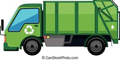 ごみ収集車, 中に, 緑, 色