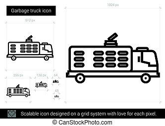 ごみ収集車, 線, icon.