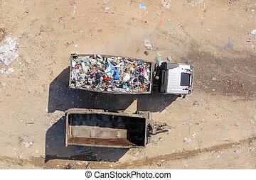 ごみ収集車, 荷を積まれる, 市の, landfill.