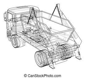 ごみ収集車, concept., ベクトル
