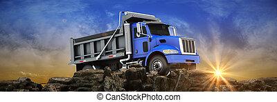 ごみ捨て人トラック, ∥において∥, sunset., 3d, レンダリング