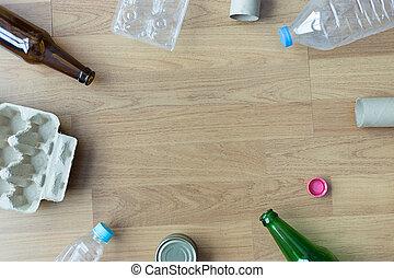 ごみ, ガラス, がらくた, 減らしなさい, 再生利用できる, プラスチック, 環境, 節約, consisting