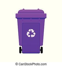 ごみ, 光景, 大箱, 背景, 無駄, シンボル, 隔離された, リサイクルしなさい, 前部, 白, 紫色, 大箱, 色, プラスチック, wheelie