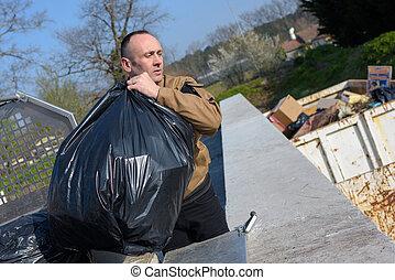 ごみ, 労働者, 収集, ビニール袋
