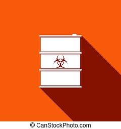 ごみ, 危険, keg., 長い間, 有毒, shadow., disaster., 平ら, 汚染, イラスト, 環境, 放出, 危険, アイコン, 屑, 放射性, biohazard, 生態学的, ベクトル, 生物学である, 樽, ∥あるいは∥