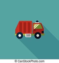 ごみ, 影, 交通機関, トラック, アイコン, eps10, 平ら, 長い間