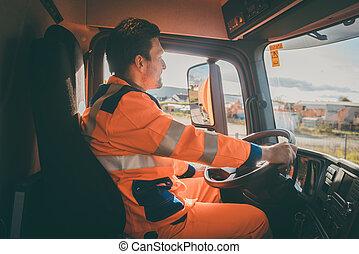 ごみ, 撤去, 労働者, 運転, a, ダンプカー