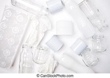 ごみ, 概念, スペース, フレーム, 金属, 手ざわり, 再生利用できる, バックグラウンド。, ペーパー, ガラス, 白, コピー, プラスチック, consisting