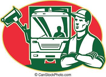 ごみ, 積込み機, トラック, ごみ, コレクター, 側