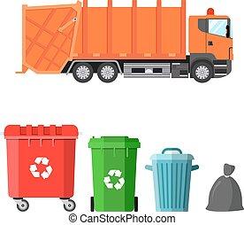 ごみ, 4, トラック, dumpsters, 変形