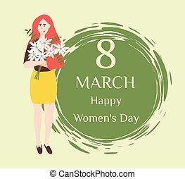 ご多幸を祈りつつ, 上に, womens, 日, 8, 3月, holiday., ベクトル