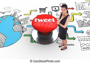 さえずり, に対して, ディジタル方式で生成された, 赤, 押しボタン