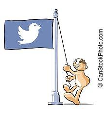 さえずり, 漫画, 鳥, 旗, シンボル, 上げること, アイコン