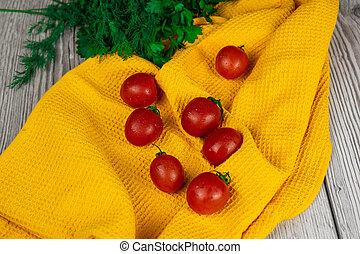 さくらんぼ, タオル, 黄色, トマト, 緑になる