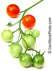 さくらんぼ, 緑, トマト, 赤
