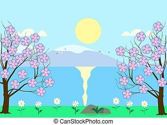 さくらんぼ, 花が咲く, 川岸