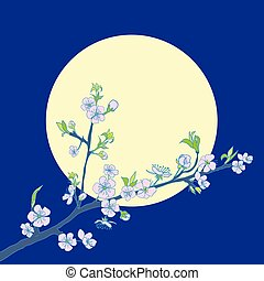 さくらんぼ, 花が咲く, 背景, ブランチ, 月