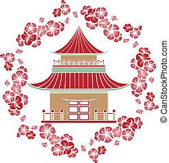 さくらんぼ, 花輪, アジア人, 家