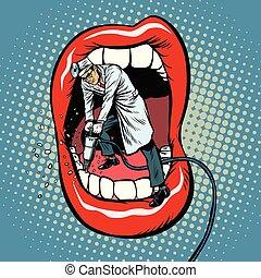 さく岩ドリル, 歯, ボーリングする, 歯科医