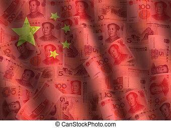 さざ波を起こされた, 旗, yuan, 中国語